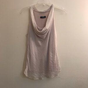 Light pink Draped neck silk top